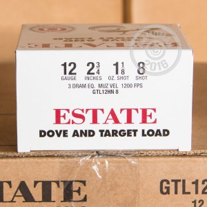 """Picture of 12 GAUGE ESTATE DOVE AND TARGET LOAD 2-3/4"""" 1-1/8 OZ. #8 LEAD SHOT (25 ROUNDS)"""