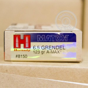 Picture of 6.5MM GRENDEL HORNADY CUSTOM A-MAX 123 GRAIN JHP (200 ROUNDS)