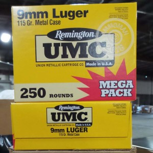 Picture of 9MM LUGER REMINGTON UMC 115 GRAIN MC (250 ROUNDS)