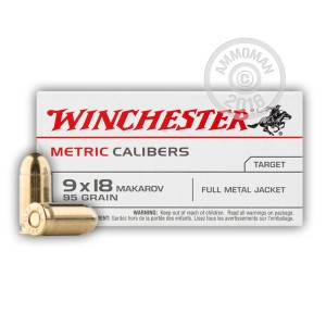 Picture of 9MM MAKAROV WINCHESTER 95 GRAIN FMJ (50 ROUNDS)