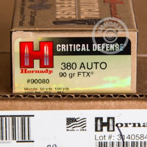 Picture of 380 AUTO HORNADY FTX CRITICAL DEFENSE 90 GRAIN JHP (25 ROUNDS)
