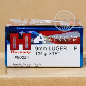 Picture of 9MM LUGER HORNADY AMERICAN GUNNER +P 124 GRAIN JHP (25 ROUNDS)
