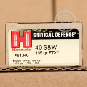 Picture of 40 S&W HORNADY CRITICAL DEFENSE 165 GRAIN JHP FTX (20 ROUNDS)