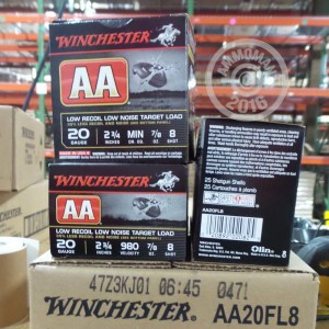 """Picture of 20 GAUGE 2 3/4"""" WINCHESTER AA LOW RECOIL TARGET #8 SHOT 25 ROUNDS"""