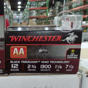 """Picture of 12 GAUGE WINCHESTER AA TRAACKER BLACK WAD 2-3/4"""" 1-1/8 OZ. #7.5 SHOT (25 ROUNDS)"""