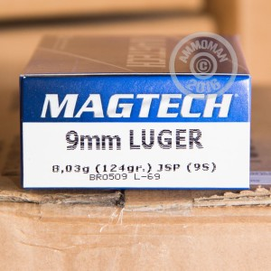 Picture of 9MM LUGER MAGTECH 124 GRAIN JSP (50 ROUNDS)