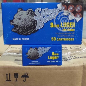 Picture of 9MM LUGER SILVER BEAR 145 GRAIN BIMETAL HP (50 ROUNDS)