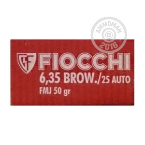 Picture of 25 ACP FIOCCHI 50 GRAIN FMJ (1000 ROUNDS)