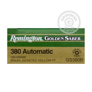 Picture of .380 AUTO REMINGTON GOLD SABER 102 GRAIN JACKETED HOLLOW POINT (500 ROUNDS)