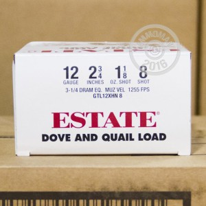 """Picture of 12 GAUGE ESTATE CARTRIDGE DOVE AND QUAIL LOAD 2-3/4"""" 1-1/8 OZ. #8 SHOT (25 ROUNDS)"""