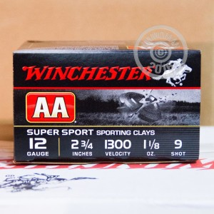 """Picture of 12 GAUGE WINCHESTER AA SPORTING CLAY 2-3/4"""" 1 1/8 OUNCE #9 SHOT (25 ROUNDS)"""