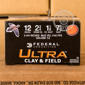 """Picture of  12 GAUGE FEDERAL ULTRA CLAY & FIELD 2-3/4"""" #7-1/2 SHOT (25 ROUNDS)"""