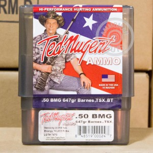 Picture of 50 BMG TED NUGENT AMMO 647 GRAIN TSX HP-BT (10 ROUNDS)