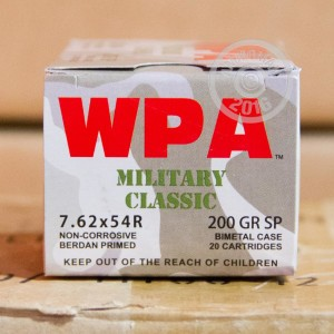 Picture of 7.62X54R WOLF WPA 200 GRAIN SP (20 ROUNDS)