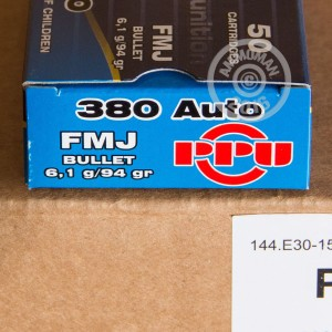 Picture of 380 ACP PRVI PARTIZAN 94 GRAIN FMJ (50 ROUNDS)