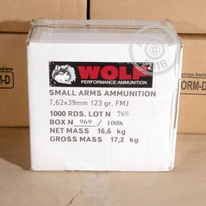 Picture of 7.62x39 WOLF FMJ UKRAINE 123 GRAIN (FULL METAL JACKET)