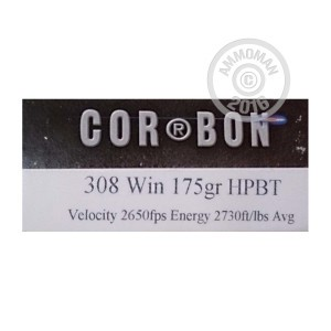 Picture of 308 WIN CORBON PERFORMANCE MATCH 175 GRAIN BTHP (20 ROUNDS)