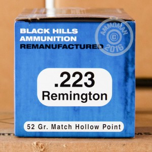 Picture of 223 REM BLACK HILLS REMANUFACTURED 52 GRAIN JHP (1000 Rounds)