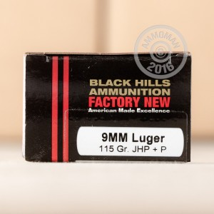 Picture of 9MM +P LUGER BLACK HILLS 115 GRAIN JHP (20 ROUNDS)