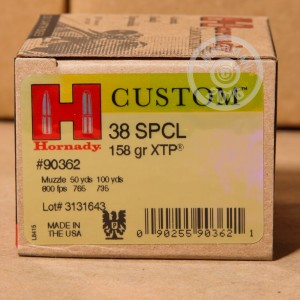 Picture of 38 SPECIAL HORNADY CUSTOM 158 GRAIN XTP JHP (250 ROUNDS)