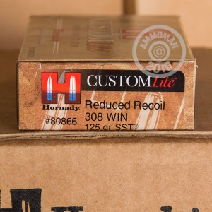 Picture of 308 WINCHESTER HORNADY CUSTOM LITE 125 GRAIN SST REDUCED RECOIL (20 ROUNDS)