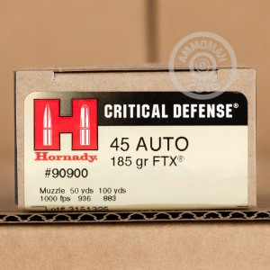 Picture of 45 ACP HORNADY CRITICAL DEFENSE 185 GRAIN FTX JHP (200 ROUNDS)