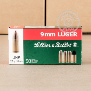 Picture of 9MM LUGER SELLIER & BELLOT 115 GRAIN JHP (1000 ROUNDS)