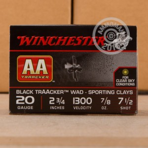 """Picture of 20 GAUGE WINCHESTER AA BLACK TRAACKER 2 3/4"""" 7/8 OZ. #7.5 SHOT (25 ROUNDS)"""