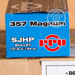 Picture of 357 MAGNUM PRVI PARTIZAN 158 GRAIN JACKETED HOLLOW POINT (500 ROUNDS)