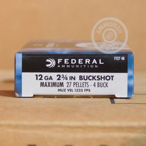 "Picture of 12 GAUGE FEDERAL POWER-SHOK 2-3/4"" #4 BUCK (5 SHELLS)"