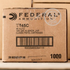 Picture of .45 ACP AUTO FEDERAL 185 GRAIN JHP (1000 ROUNDS)