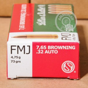 Picture of 32 ACP SELLIER & BELLOT 73 GRAIN FMJ (50 ROUNDS)