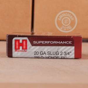 "Picture of 20 GAUGE HORNADY SUPERFORMANCE 2-3/4"" 250 GRAIN MONOFLEX SABOT SLUG (5 ROUNDS)"