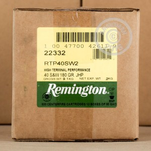Picture of .40 S&W REMINGTON HTP 180 GRAIN JHP (500 ROUNDS)