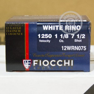 "Picture of 12 Gauge 2 3/4"" FIOCCHI WHITE RINO 1 1/8 OZ #7.5 SHOT (250 ROUNDS)"