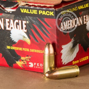 Picture of 9MM LUGER FEDERAL AMERICAN EAGLE 115 GRAIN FMJ (100 ROUNDS)