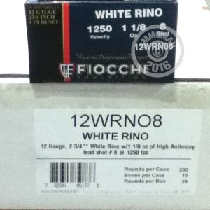 """Picture of 12 GAUGE FIOCCHI WHITE RINO 2-3/4"""" #8 SHOT (250 ROUNDS)"""