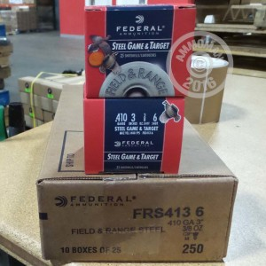 "Picture of 410 GAUGE FEDERAL FIELD & RANGE STEEL 3"" 3/8 OZ #6 SHOT (25 ROUNDS)"