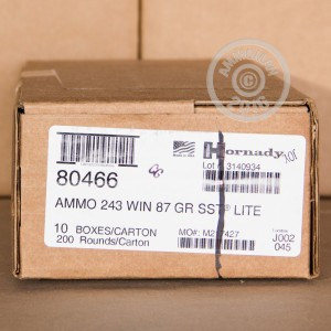 Picture of 243 WINCHESTER HORNADY CUSTOM LITE 87 GRAIN SST (20 ROUNDS)