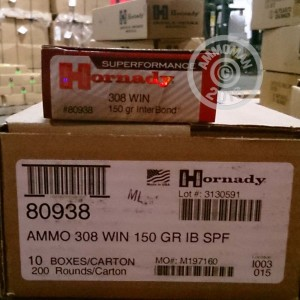 Picture of 308 WIN HORNADY SUPERFORMANCE 150 GRAIN INTERBOND (20 ROUNDS)