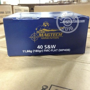 Picture of 40 S&W MAGTECH 180 GRAIN FMJ FLAT NOSE #MP40B (1,000 Rounds)