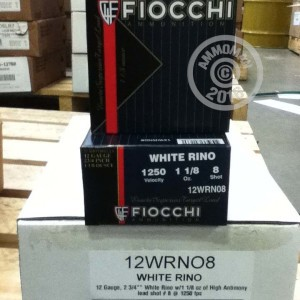 """Picture of 12 GAUGE FIOCCHI WHITE RINO 2-3/4"""" #8 SHOT (25 ROUNDS)"""