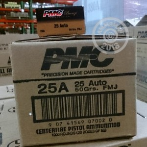 Picture of 25 ACP PMC 50 GRAIN FULL METAL JACKET (1000 ROUNDS)
