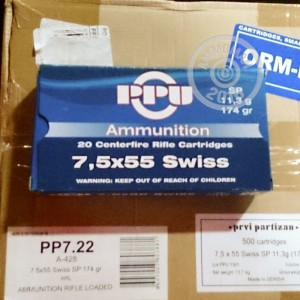 Picture of 7.5x55 SWISS PRVI PARTIZAN 174 GRAIN SOFT POINT (20 ROUNDS)