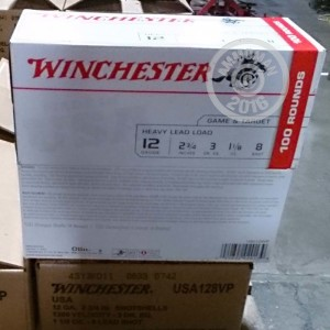 """Picture of 12 GAUGE WINCHESTER USA HEAVY GAME & TARGET 2-3/4"""" 1-1/8 OZ. #8 SHOT (100 ROUNDS)"""