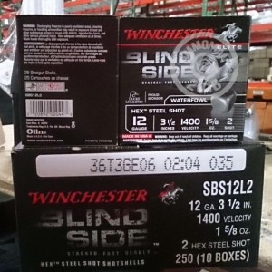 "Picture of 12 GAUGE WINCHESTER ELITE BLIND SIDE 3-1/2"" 1-5/8 OZ #2 HEX STEEL SHOT (25 ROUNDS)"