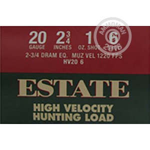 """Picture of 20 GAUGE ESTATE HIGH VELOCITY HUNTING LOAD 2 3/4"""" 1 OZ. #6 SHOT (25 ROUNDS)"""
