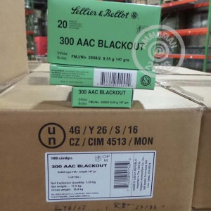 Picture of 300 AAC BLACKOUT SELLIER & BELLOT 147 GRAIN FMJ (20 ROUNDS)