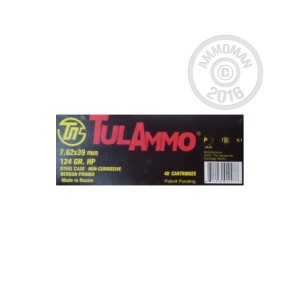 Picture of 7.62x39MMTULA AMMO 124 GRAIN HOLLOW POINT(40ROUNDS)