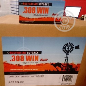 Picture of 308 WINCHESTER AUSTRALIAN OUTBACK 150 GRAIN SWIFT SCIROCCO-II POLYMER TIP (20 ROUNDS)